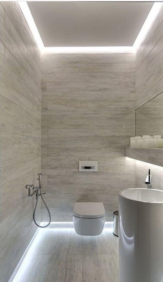 подсветка пола в ванной